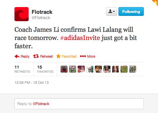 Flotrack Tweet Lalang