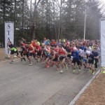 Start of the 22nd S.E.A. 5k as pictured (and timed) by Granite State Race Services
