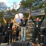 On the center podium at the 2015 OCR World Championships, with my acidotic RACING teammate Lance Reed in the three-spot.
