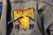 Boston Marathon 1997 denim jacket Mary Guertin