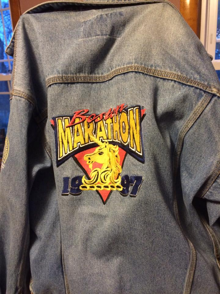 Boston Marathon 1997 denim jacket Mary Guertin